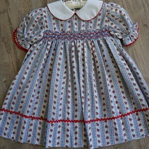 Vintage Polly Flinders Dress Hand Smocked Floral